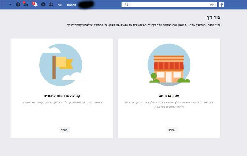 דף עסקי בפייסבוק בחירת סוג